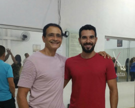 Tarcisio with Jairo owner of Jaime Aroxa Goiania