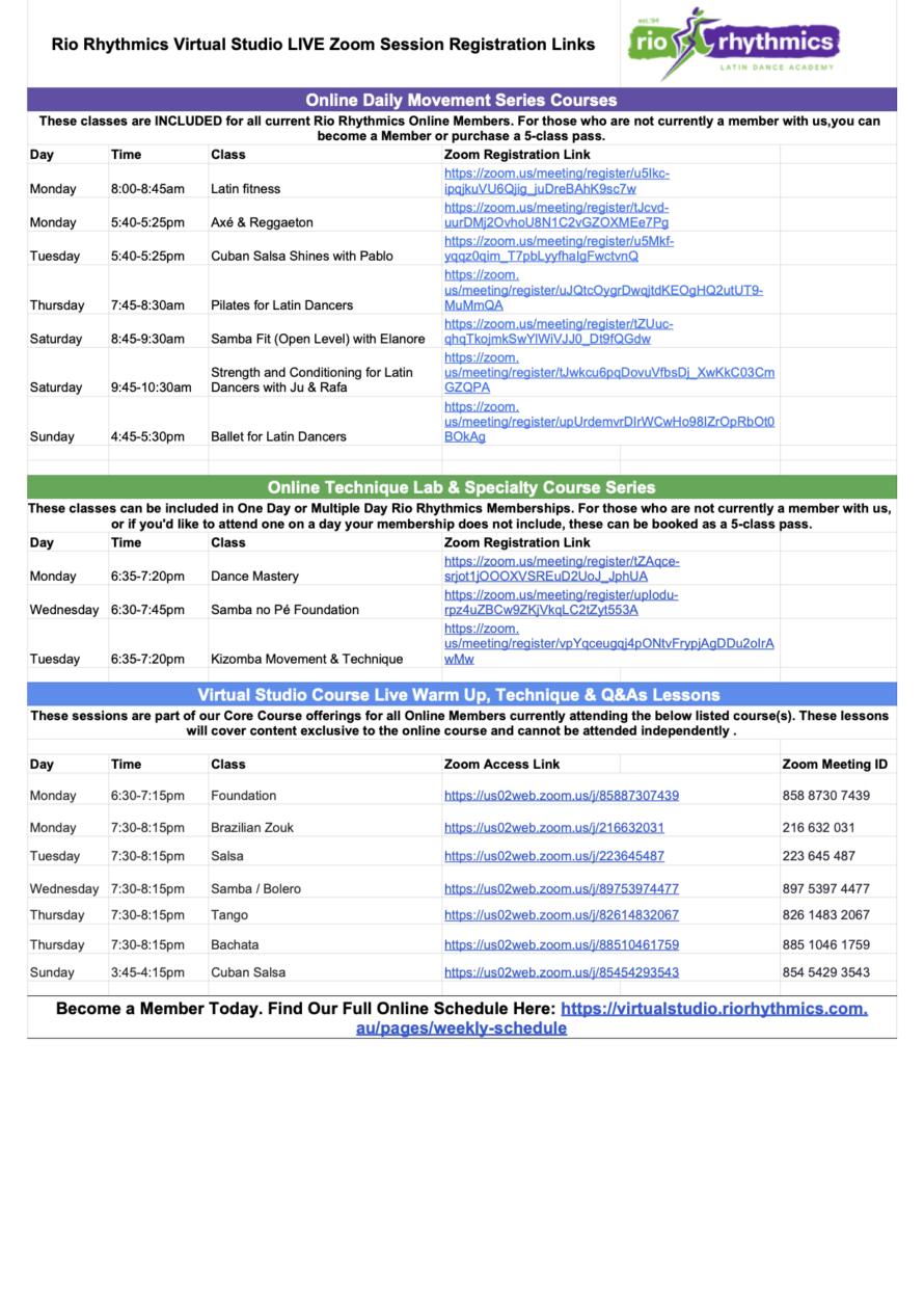 Rio Rhythmics Virtual Studio Live Session Links as at 18 May 2020